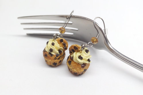Chocolate Chip Cupcake Dangle Earrings