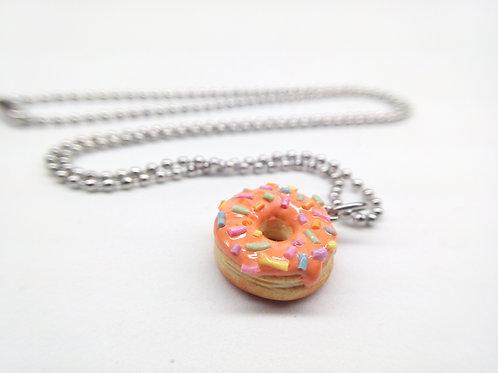 Orange Sprinkle Donut Necklace