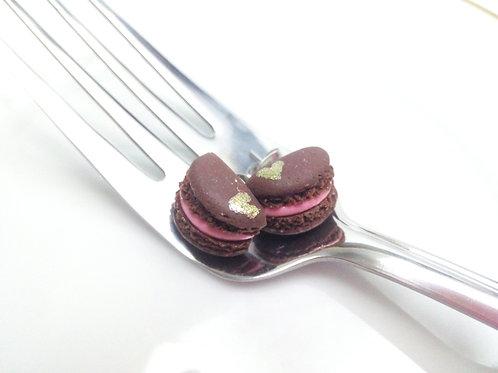 Chocolate & Strawberry Macaron Studs