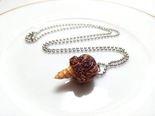 Chocolate Fudge Ice Cream Cone Necklace