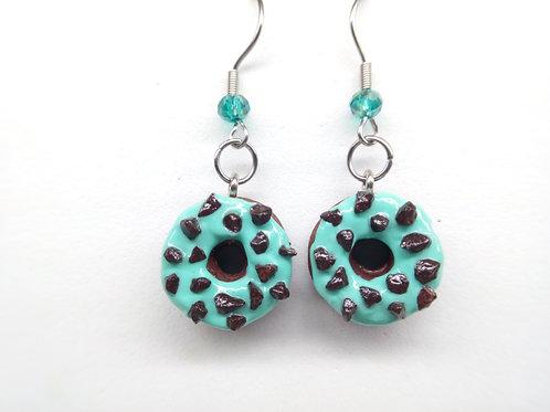 Mint & Chocolate Donut Dangle Earrings