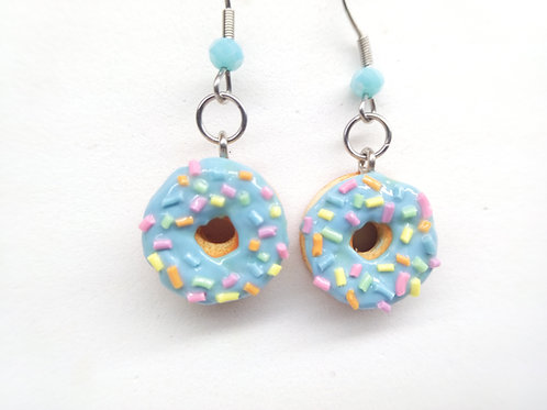 Blue Sprinkle Donut Dangle Earrings
