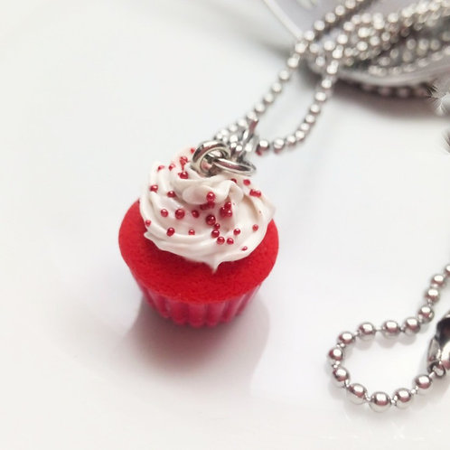 Red Velvet Cupcake Necklace