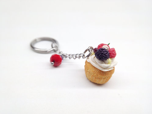 Summer Pavlova Cupcake Keychain