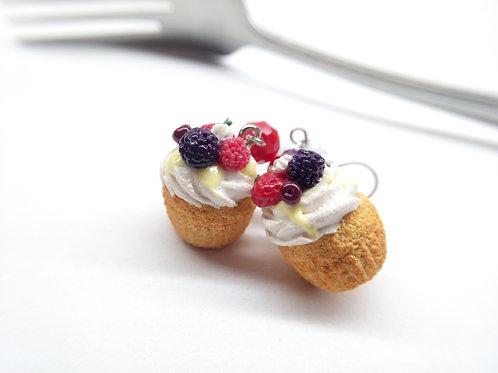Summer Pavlova Cupcake Dangle Earrings