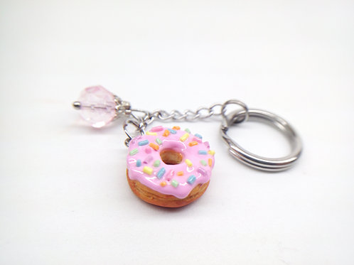 Pink Sprinkle Donut Key Chain