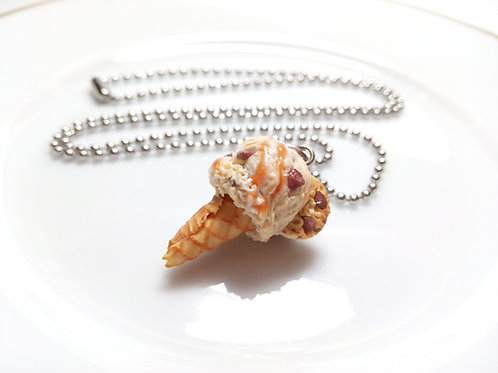 Choco Chip Cookie Dough Ice Cream Cone Necklace
