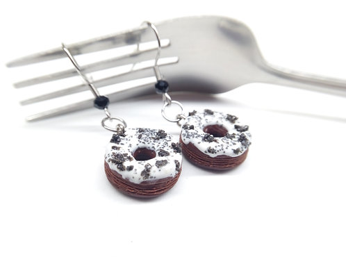 Cookies and Cream Donut Dangle Earrings