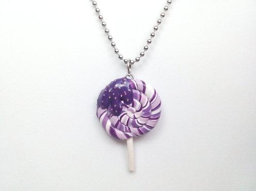 Purple Swirl Lollipop Necklace