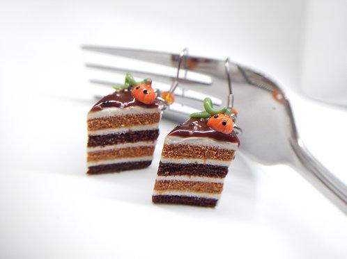 Pumpkin & Chocolate Fall Cake Earrings