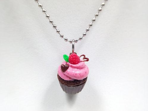 Valentine's Raspberry and Chocolate Cupcake Necklace