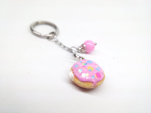 Pink Filled Donut Key Chain