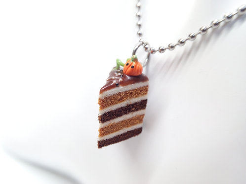 Pumpkin & Chocolate Fall Cake Necklace