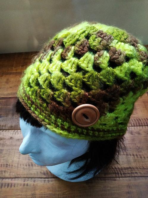 Greean and Brown Crochet Beanie