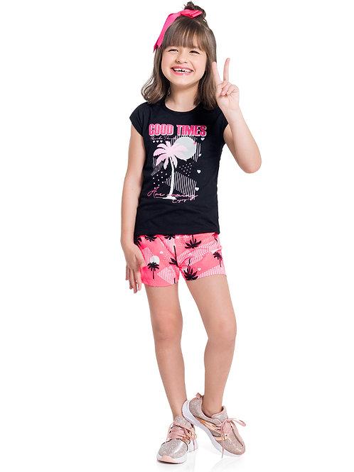 Conjunto blusa e shorts m/malha 4-10