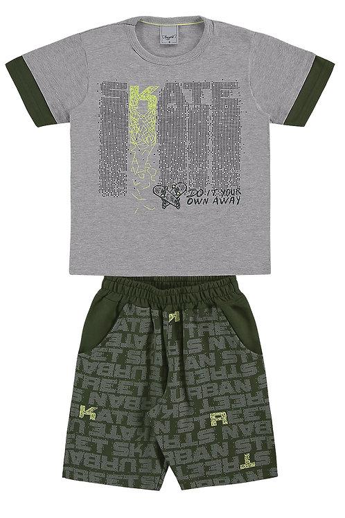 Conjunto camiseta bordado e bermuda moletinho - Mescla 10