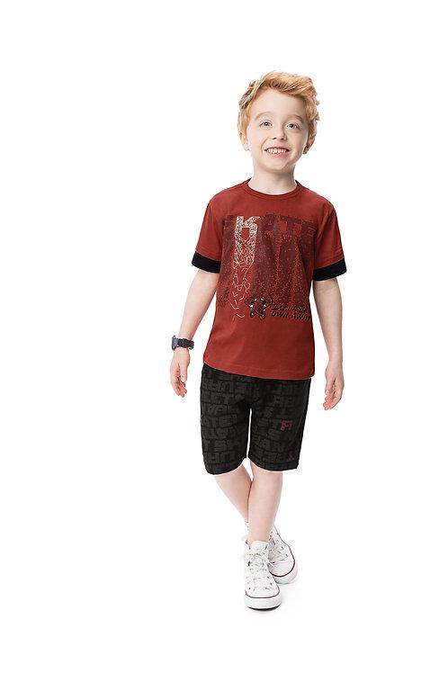 Conjunto camiseta bordado e bermuda moletinho 6-8