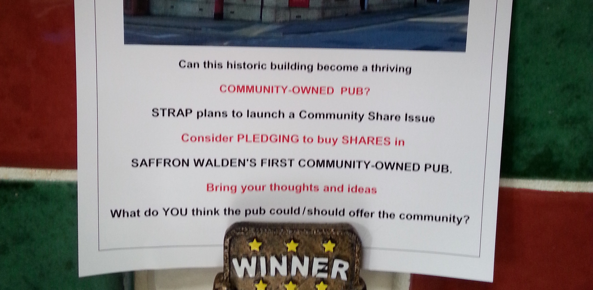 STRAP - Wiggy (rightly) supporting a community owned pub