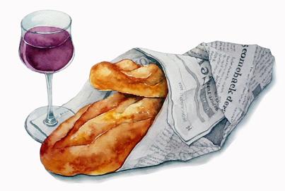 フランスパンとワイン