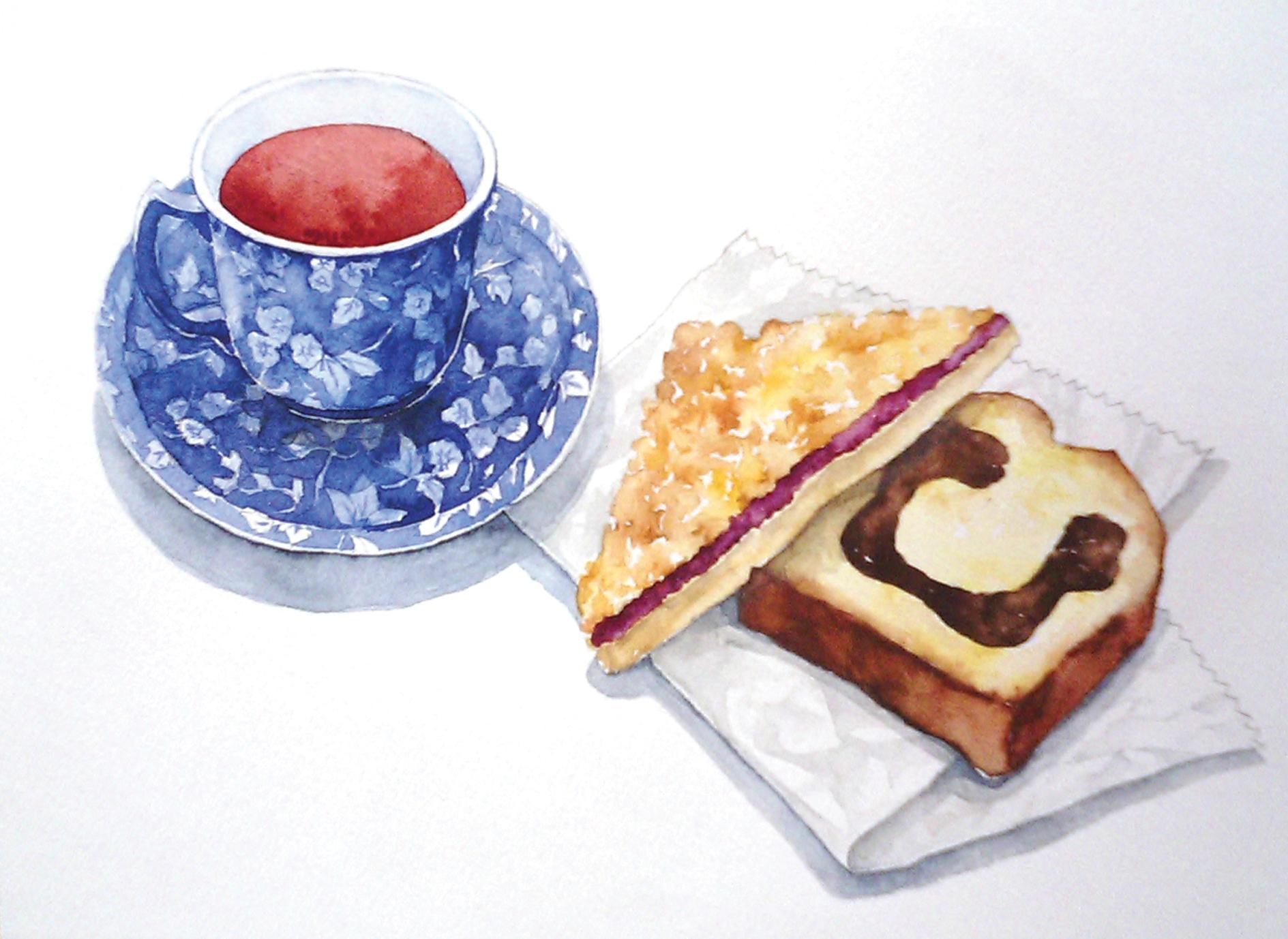 紅茶と菓子パン