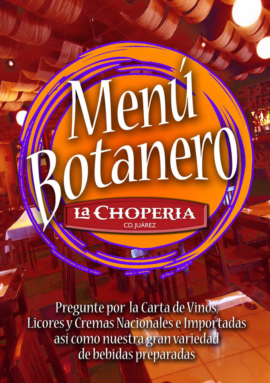 Menu botanero La Chopería