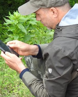 Person taking picture of plant