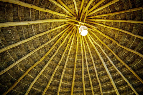 Thatched roofing inside the Bandas