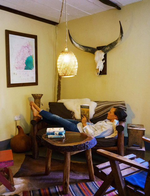 Relaxing inside the lodge