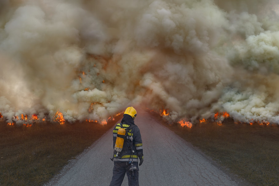 we see the back of a firefighter facing fire