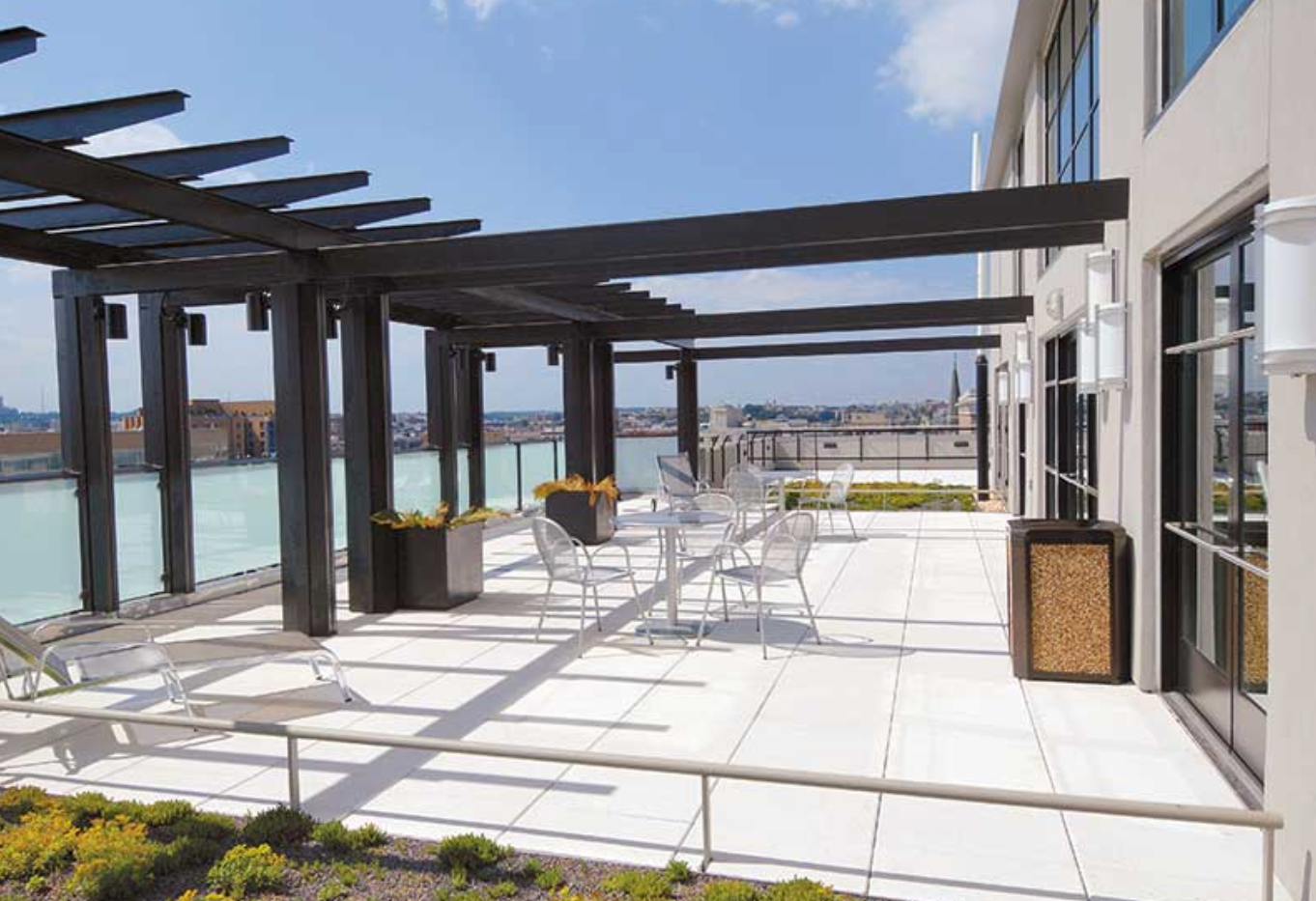 White Pavers Roof Deck