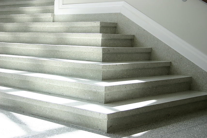 Gray Two Piece Precast Epoxy Stair Tread and Riser with Overhang