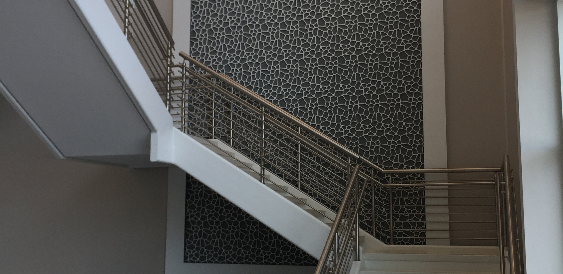 White Precast Polished Concrete Stair Tr