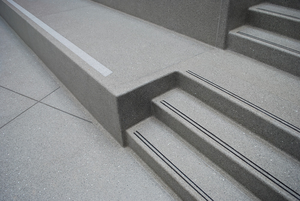 Poured in Place Terrazzo Seating and Stairs Details