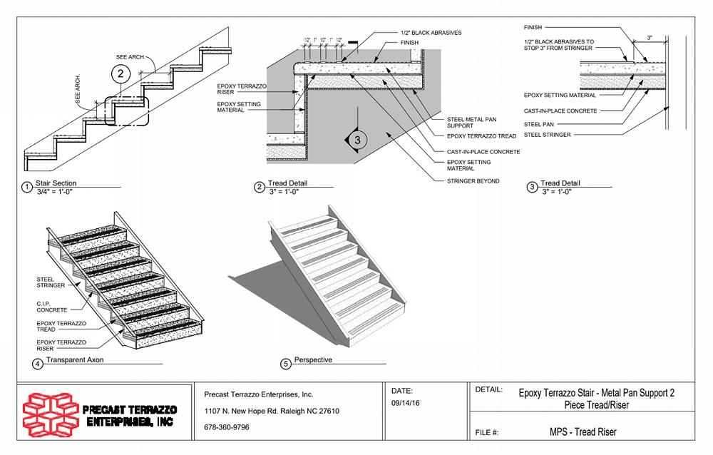 Two Piece Terrazzo Tread and Riser Terrazzo Stairs