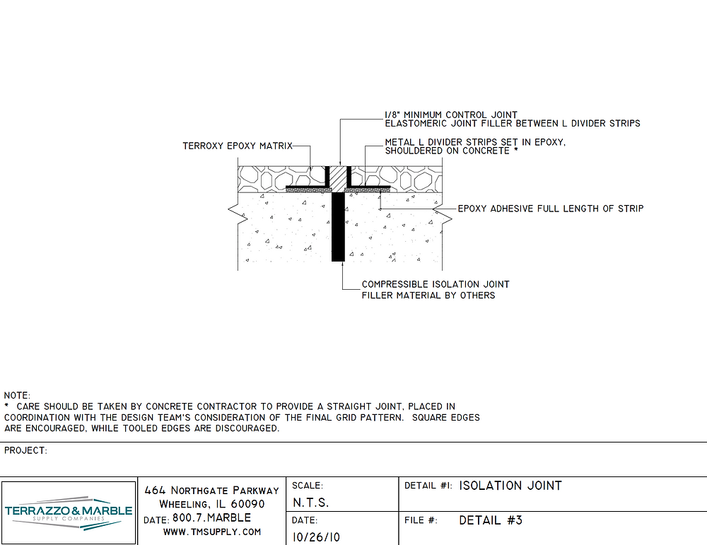 How to detail a terrazzo column joint or isolation joint