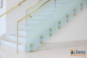 Brass Button Railing with White Gradient