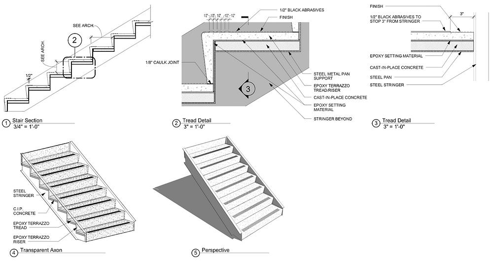Terrazzo Stairs Revit Drawing
