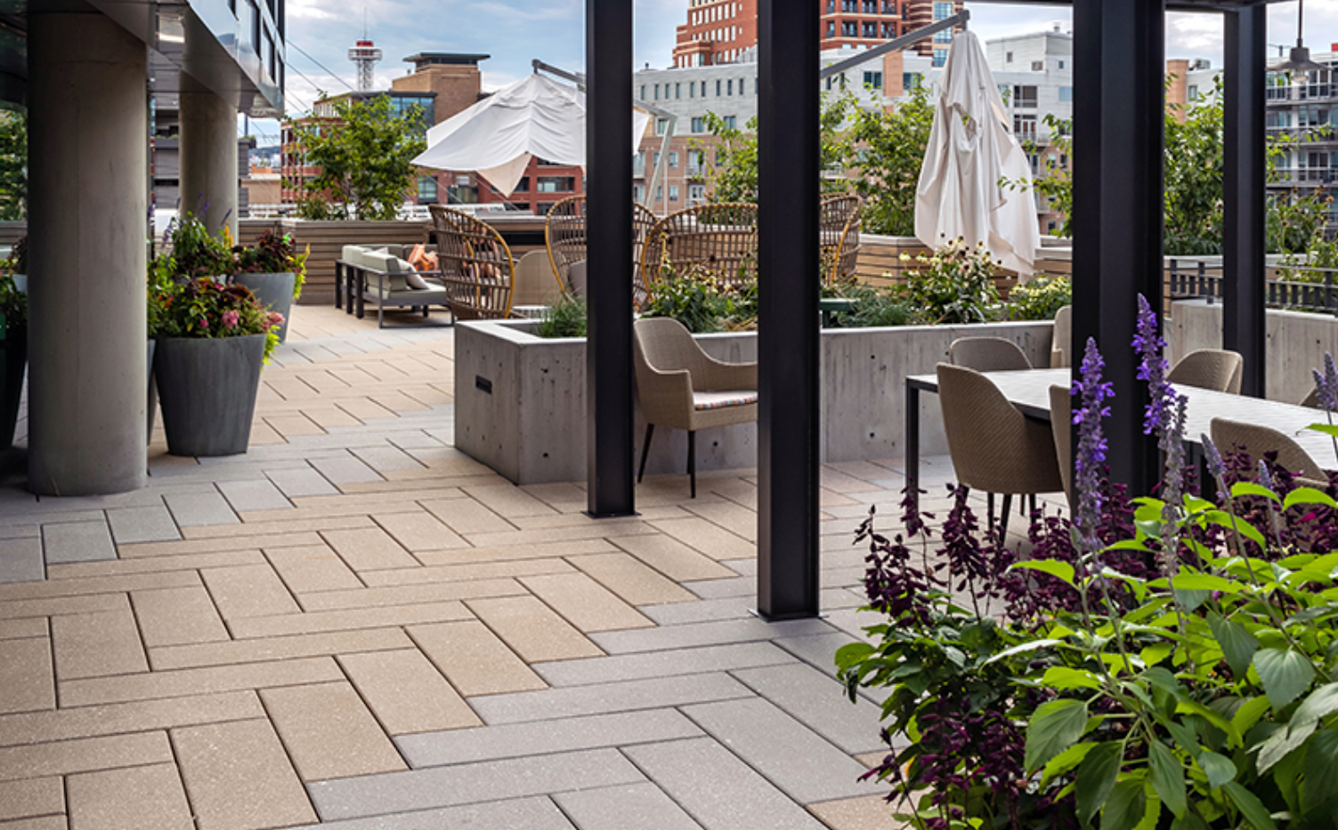 Herringbone Paver Roof Deck