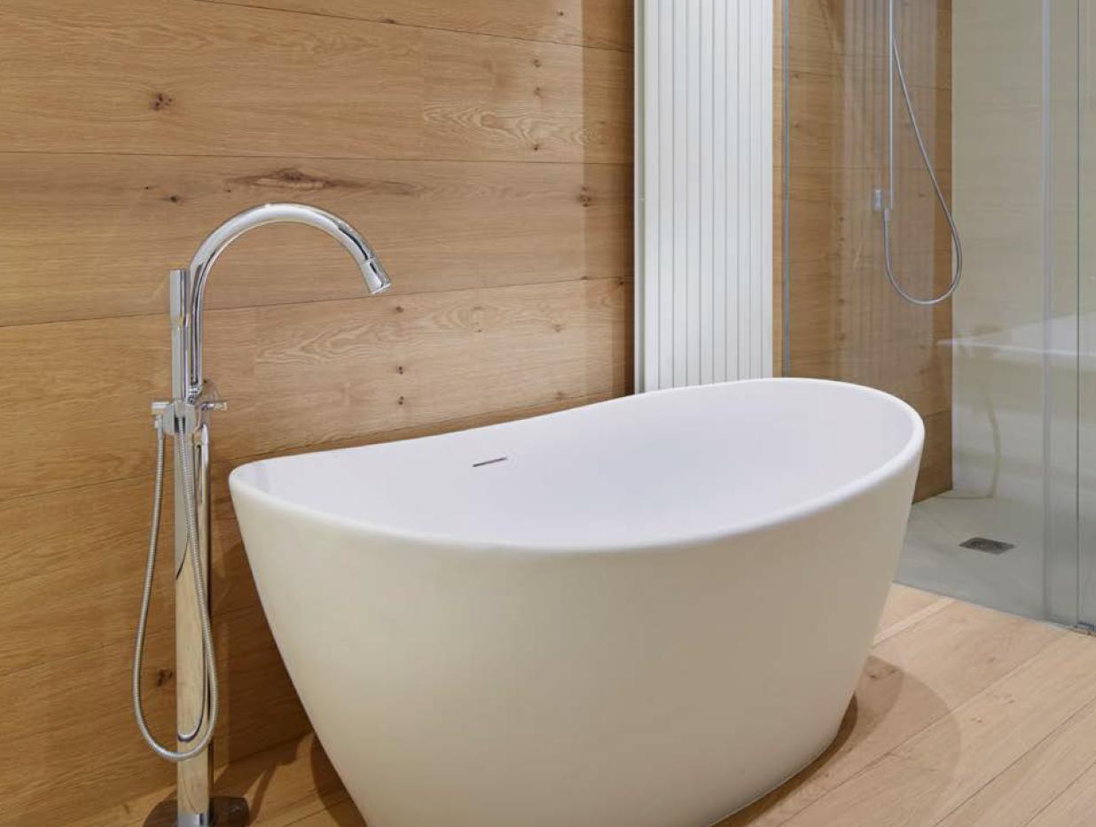 Oak Floor and Walls Bathroom