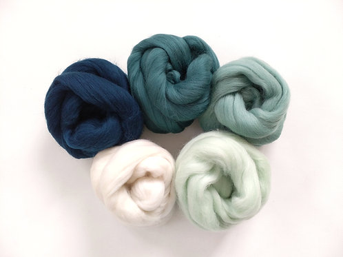 Merino Roving Tops - Shades of Teal