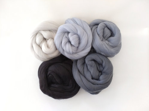 Merino Roving Tops - Shades of Grey Bundle