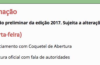 Programação preliminar 2017