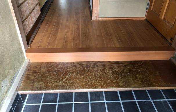 床の補強+上貼りリフォーム