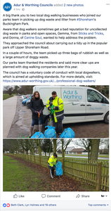 Adur Council Poo Pick up at Buckingham Park
