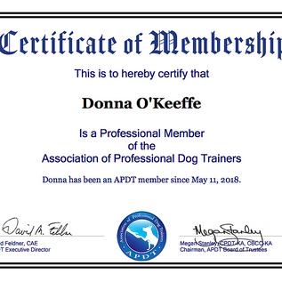 APDT Membership Cert