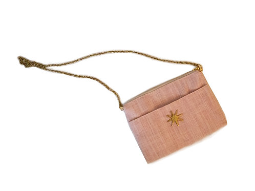 Blush Linen Crossbody with Brass Chain
