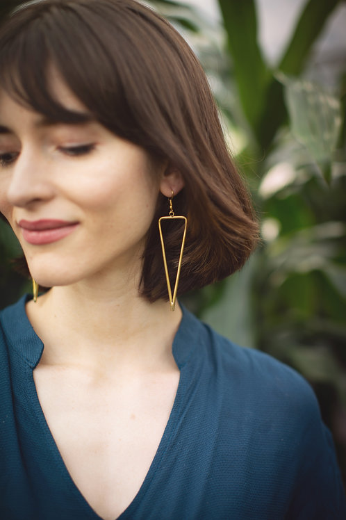 Recycled Brass Pennant Cutout Earrings