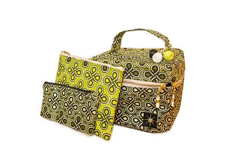 Green and Gold Makeup Bag