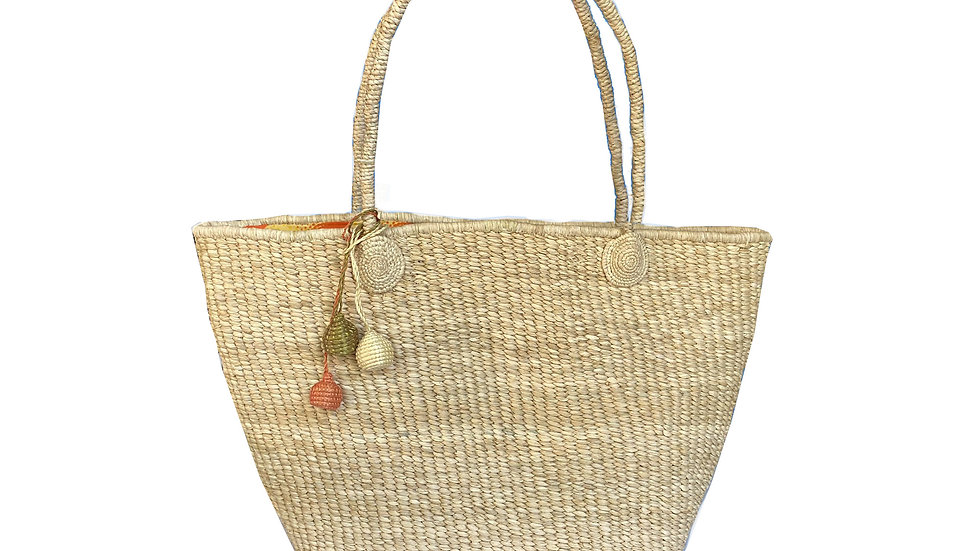 Woven Beach Tote with Orange Lining