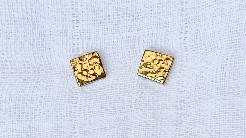 Hammered Brass Square Earrings
